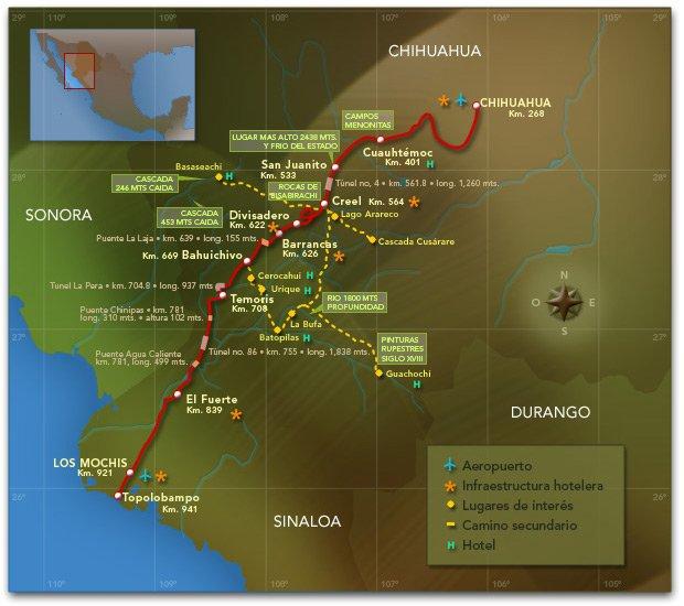 mapa de la ruta del tren chepe